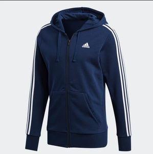 Adidas Essentials 3 Stripe Full Zip Hoodie